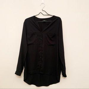 Black Button Up Blouse Size XL